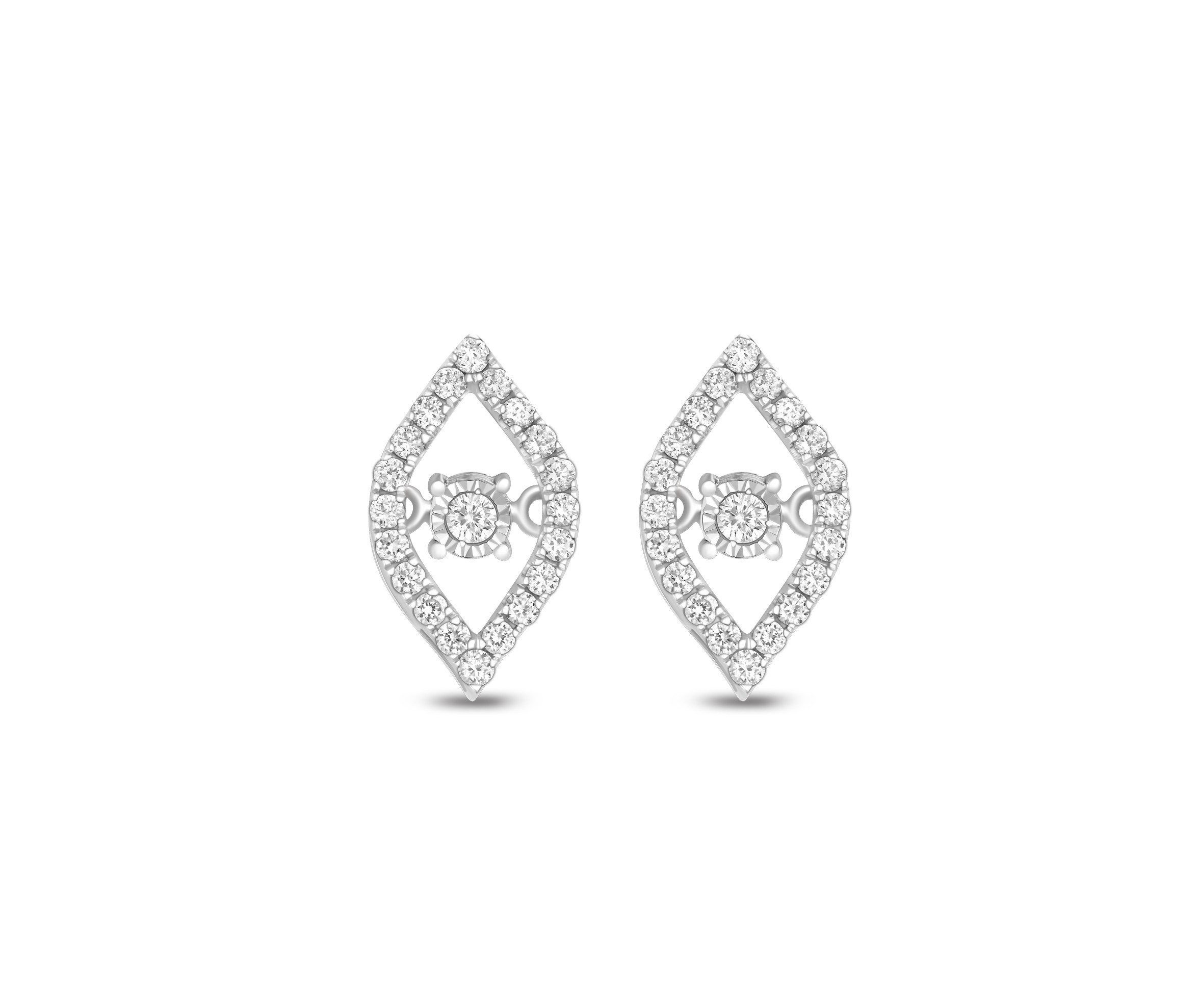 18K WHITE GOLD HEART BEATS EARRING KNG102WE