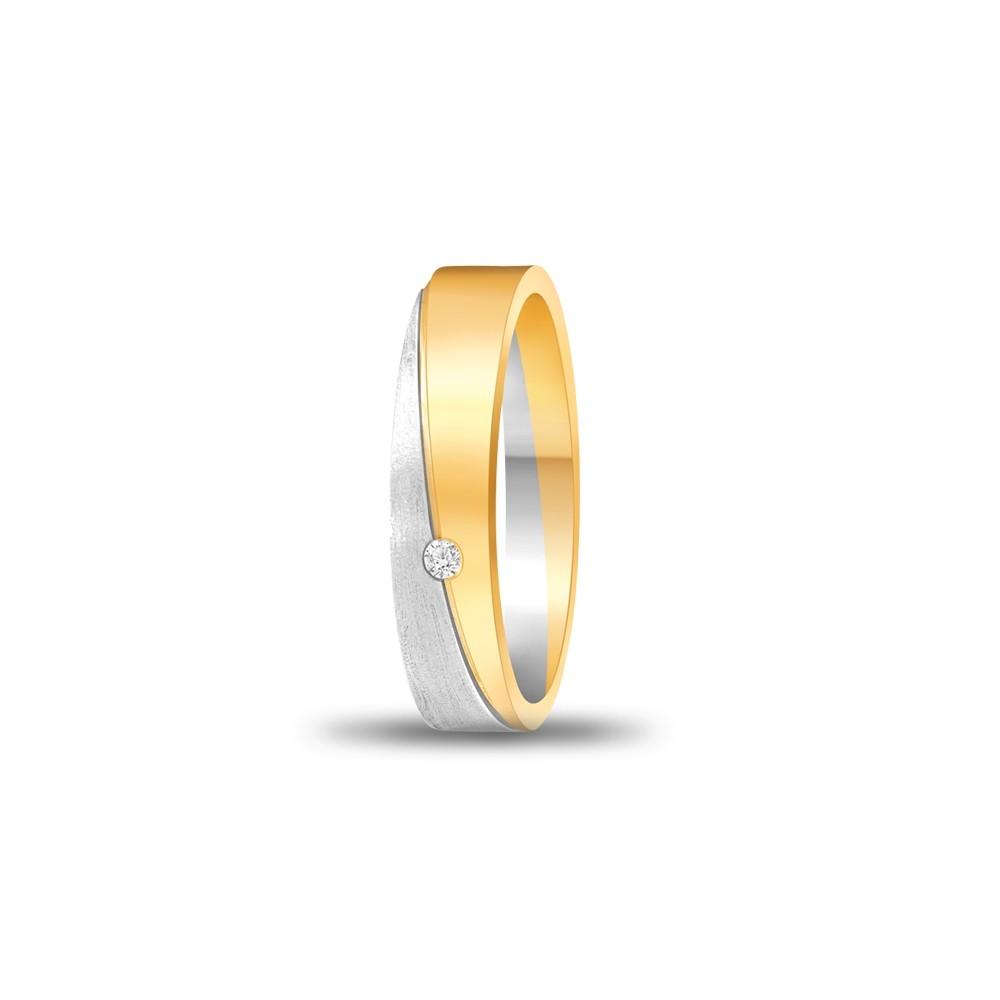 FOREVER WEDDING BAND DIAMOND LADYS 18K TWO TONE GOLD RING FBK1006