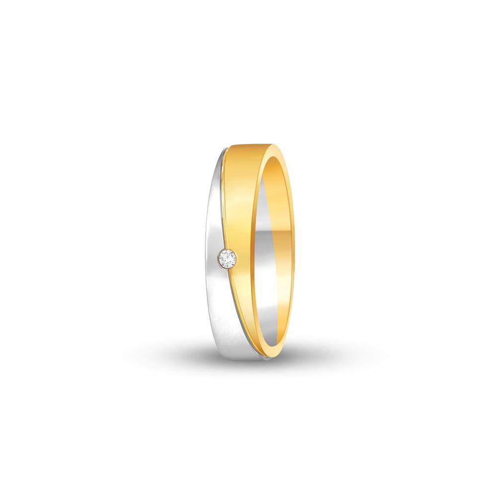 FOREVER WEDDING BAND DIAMOND LADYS 18K TWO TONE GOLD RING FBK1008