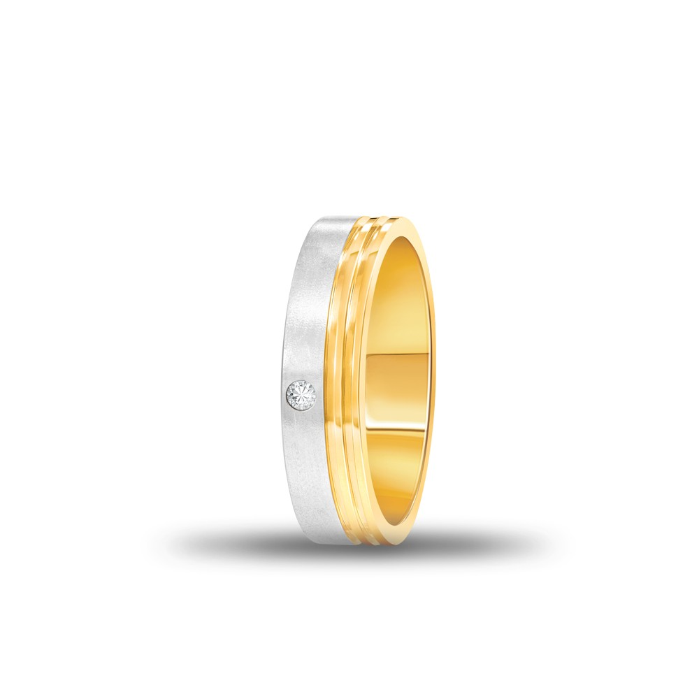 FOREVER WEDDING BAND DIAMOND GENTS 18K YELLOW GOLD RING FBK1009