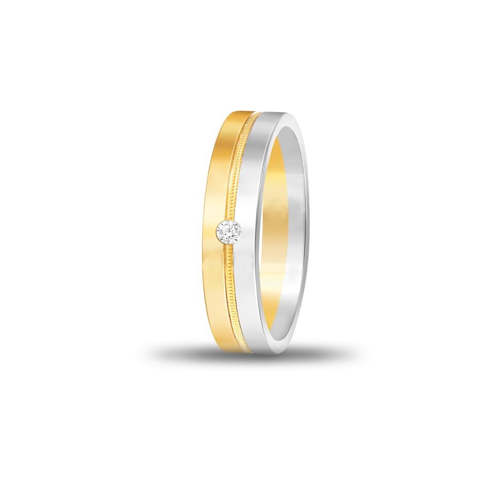 FOREVER WEDDING BAND DIAMOND GENTS 18K TWO TONE  GOLD RING FBK1011
