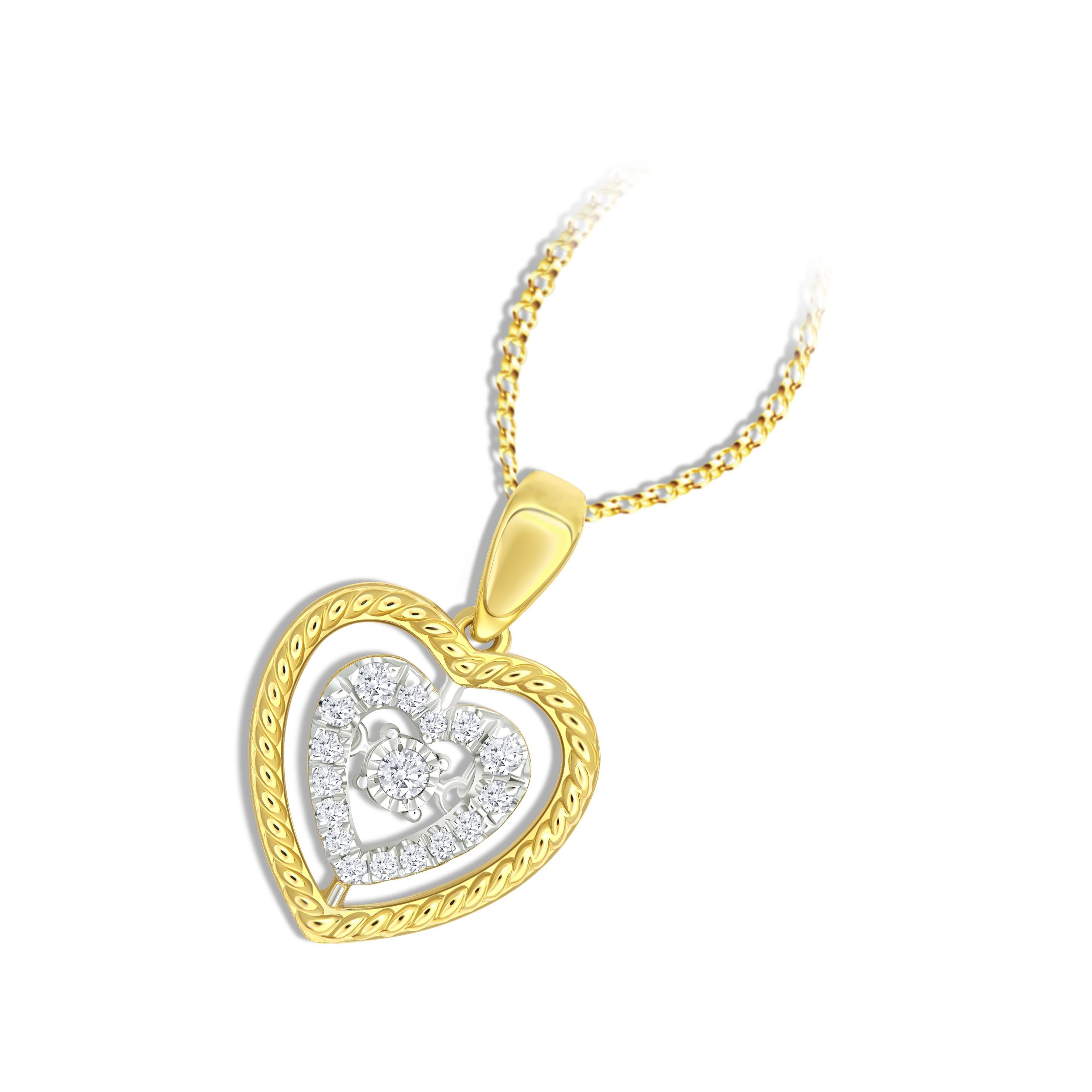 18K YELLOW GOLD HEART BEATS PENDANT KNG25P