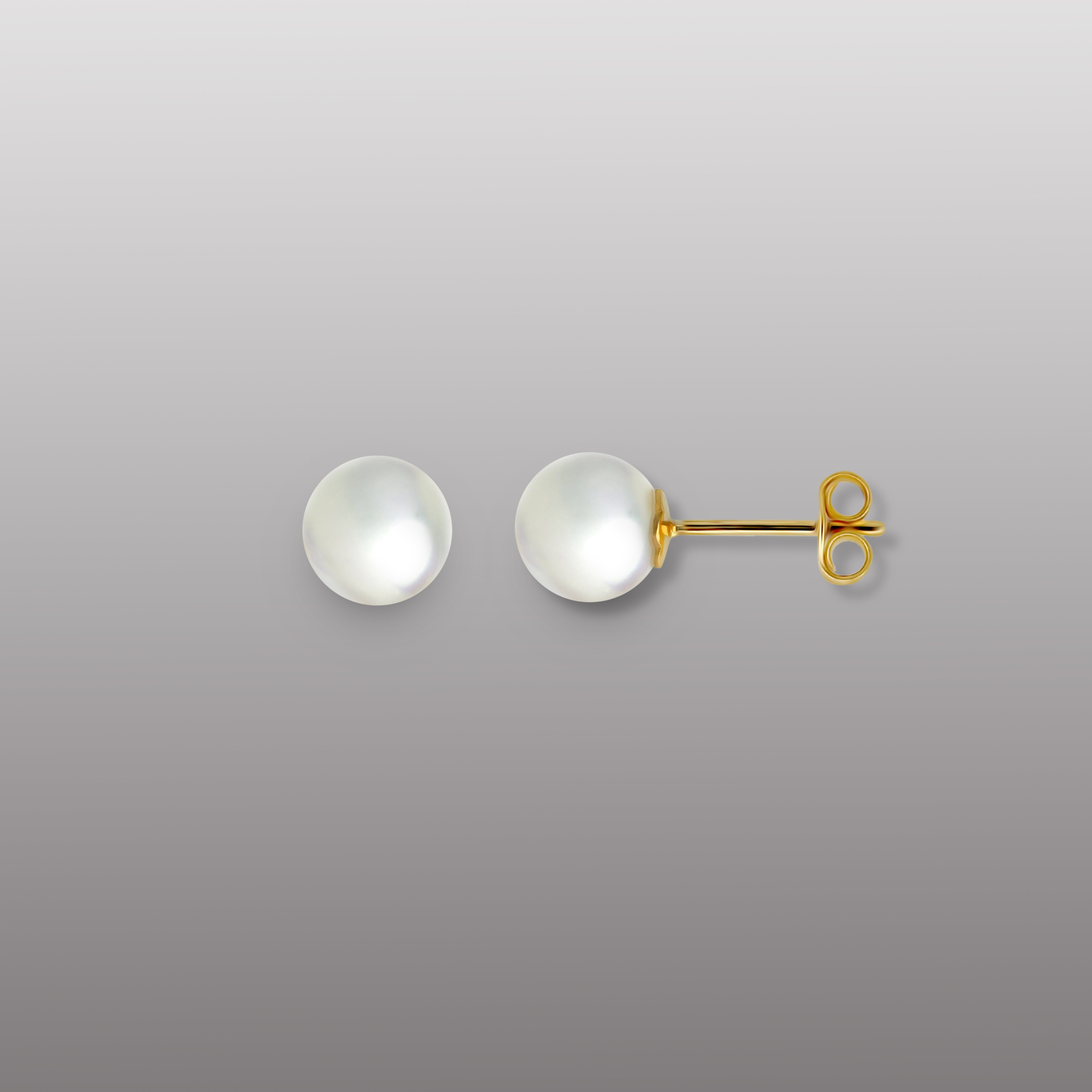 18K YELLOW GOLD PEARL EARRING STUD TYPE (8.50 - 9.50 mm) -RD1910E(9)