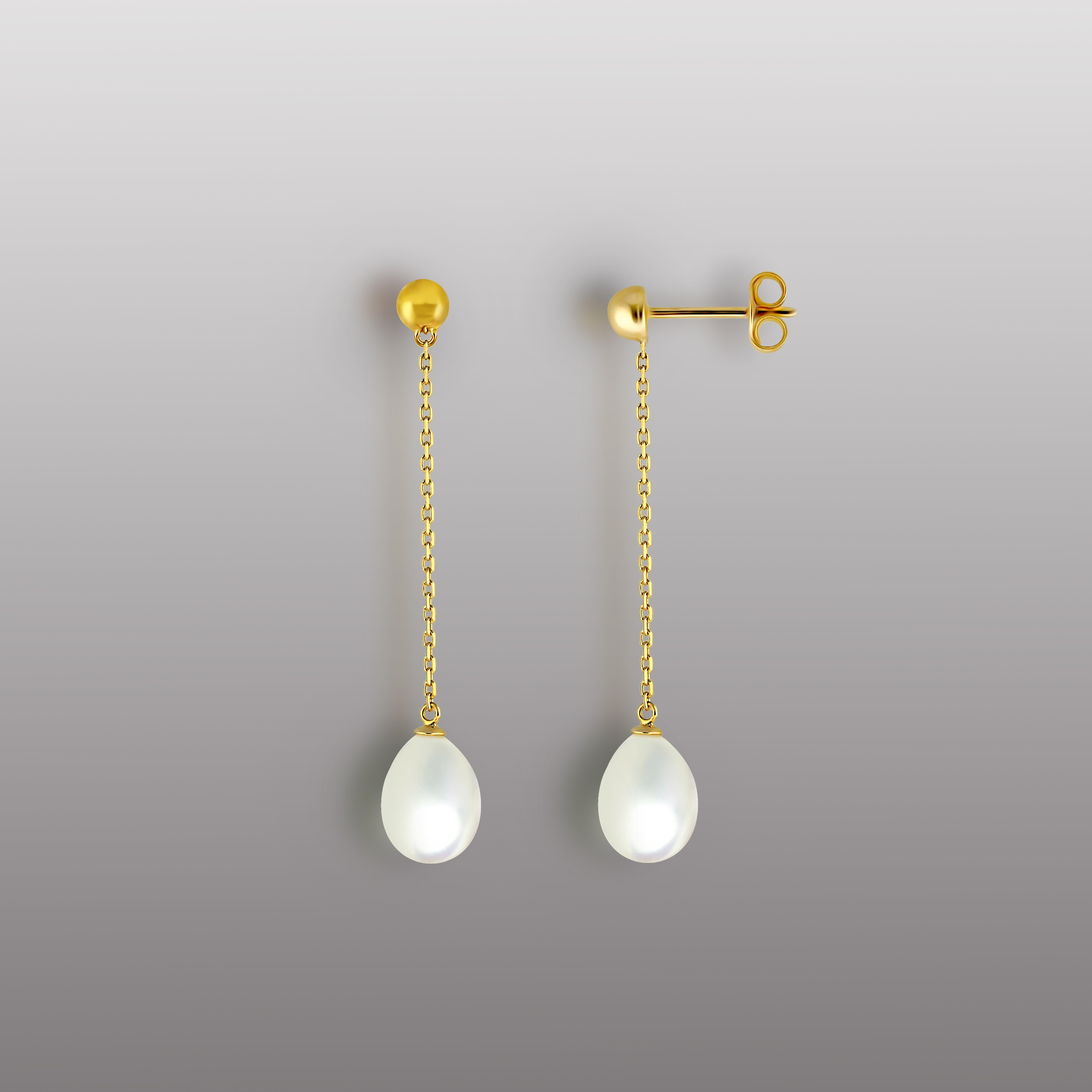 18K YELLOW GOLD EARRING WITH DROP SHAPE PEARL-RD1913E