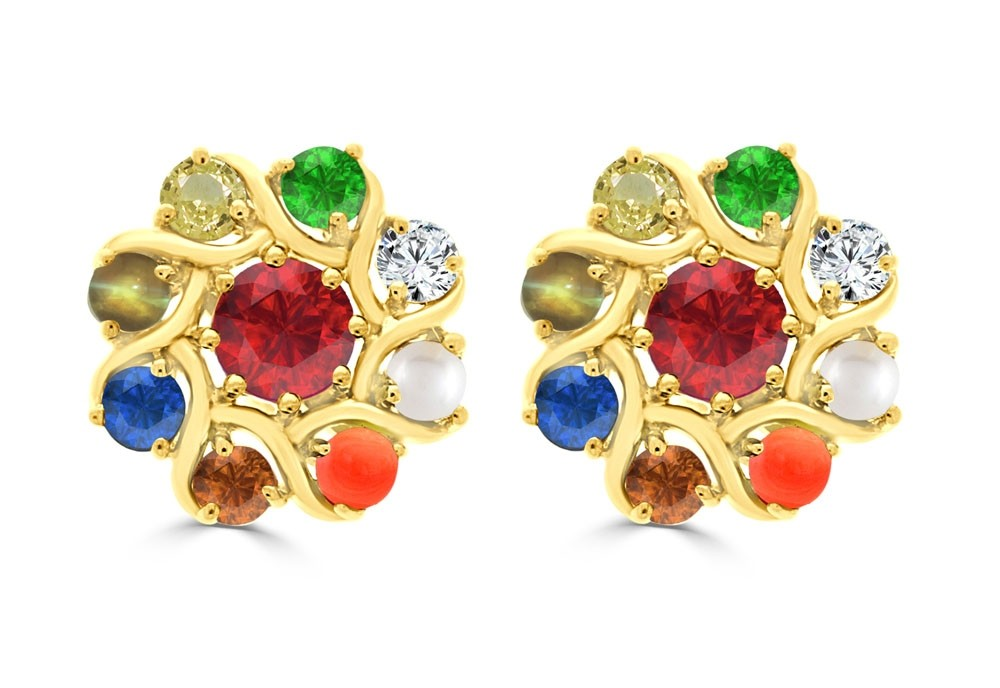Navaratna Errnv251s 22k Diamond Ladys Earring