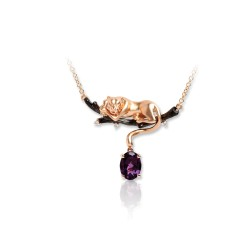 DAVID HARRIS LONDON UNISEX  DIAMOND 18K TWO TONE ROSE GOLD PENDANT WITH CHAIN DH-U-18KR-LK--DH1006