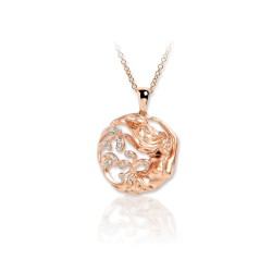 DAVID HARRIS LONDON UNISEX  DIAMOND 18K TWO TONE ROSE GOLD PENDANT WITH CHAIN DH-U-18KR-LK--DH1013