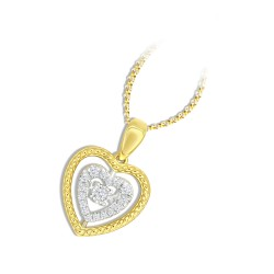 18K YELLOW GOLD HEART BEATS PENDANT KNG25P