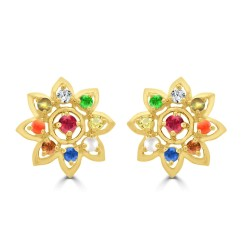 NAVARATNA  ERRNV147S -22K DIAMOND LADYS EARRING
