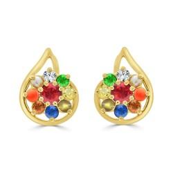 NAVARATNA  ERRNV171S -22K DIAMOND LADYS EARRING