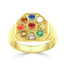 NAVARATNA  RRNV259 -22K DIAMOND GENTS RING