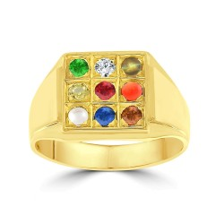 NAVARATNA  RRNV260 -22K DIAMOND GENTS RING