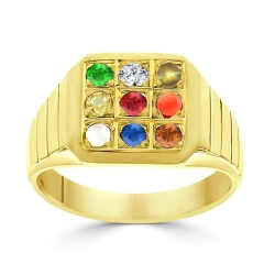 NAVARATNA  RRNV261 -22K DIAMOND GENTS RING