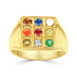 NAVARATNA  RRNV262 -22K DIAMOND GENTS RING