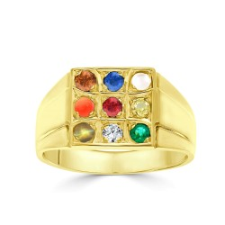 NAVARATNA  RRNV263 -22K DIAMOND GENTS RING