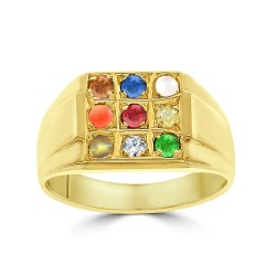 NAVARATNA  RRNV263A -22K DIAMOND GENTS RING